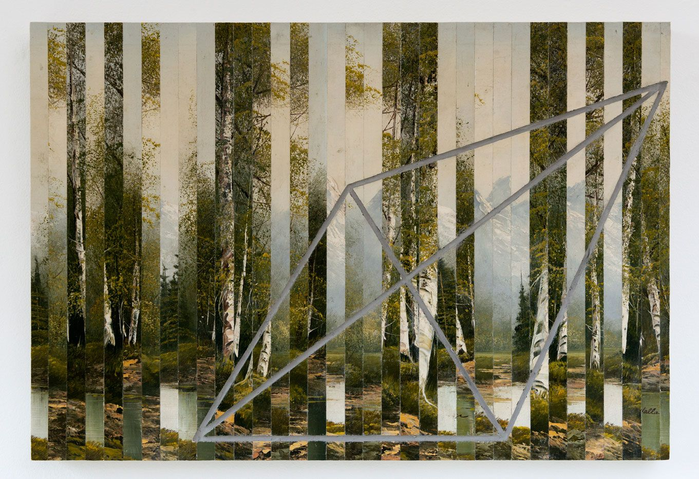 The Wilderness, 2015, 50 x 80 cm oil on canvas, concrete, wood