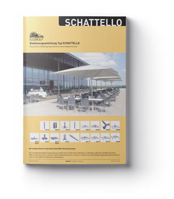 Yellow brochure with white parasol
