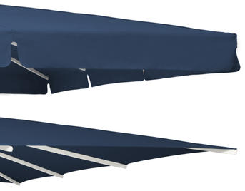 Two blue canopies with and without valance