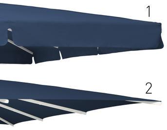 Zwei Blaue Schirmdächer mit und ohne Volant
