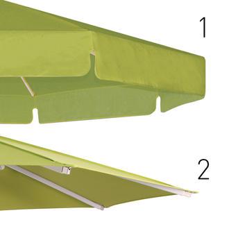 Zwei Beige Schirmdächer mit und ohne Volant