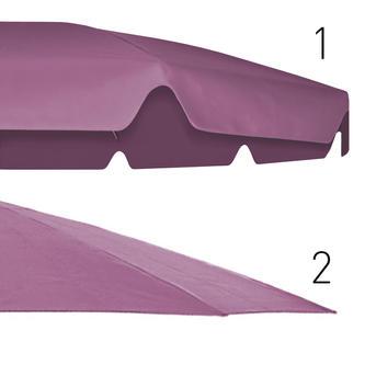 Zwei magenta-farbige Schirmdächer mit und ohne Volant