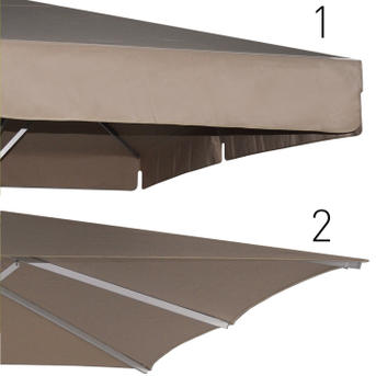 Two beige canopies with and without valance