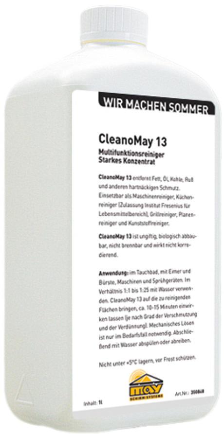 Plastikflasche mit weißem Label, viel Text und MAY-Logo