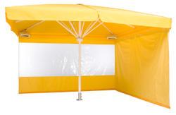 Ein gelber Sonnenschirm mit Seitenbehang