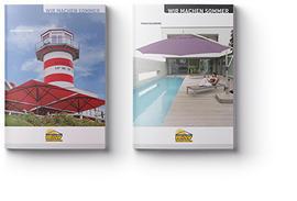 Zwei Kataloge mit Schirmen auf der Titelseite