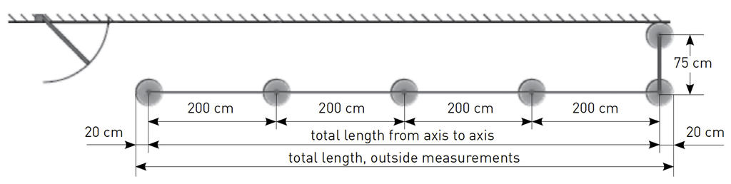 top view, axial dimensions