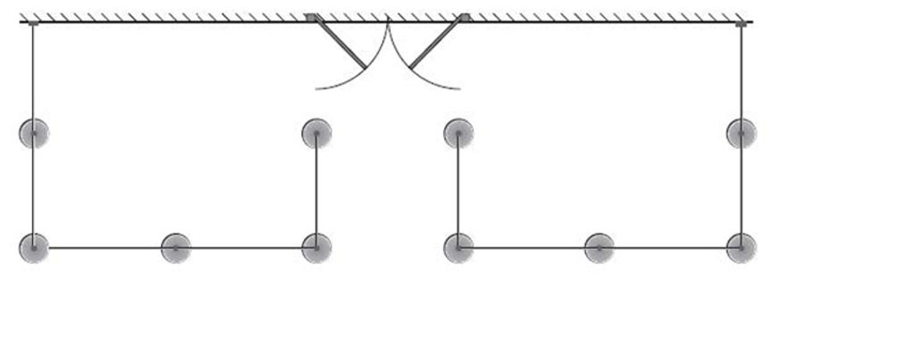 Two U-shapes, each fastened to the wall of the building. Customer access from the front