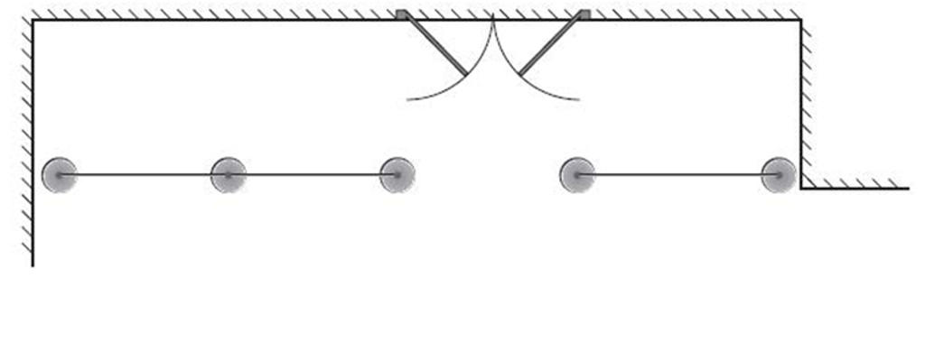 Two-line formation with access from the front