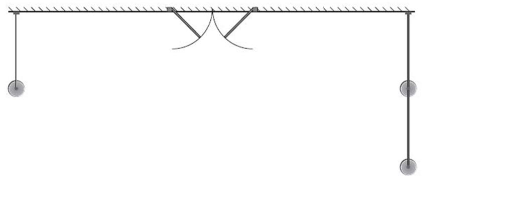 Two lines, each fastened to the wall of the building at an angle of 90°
