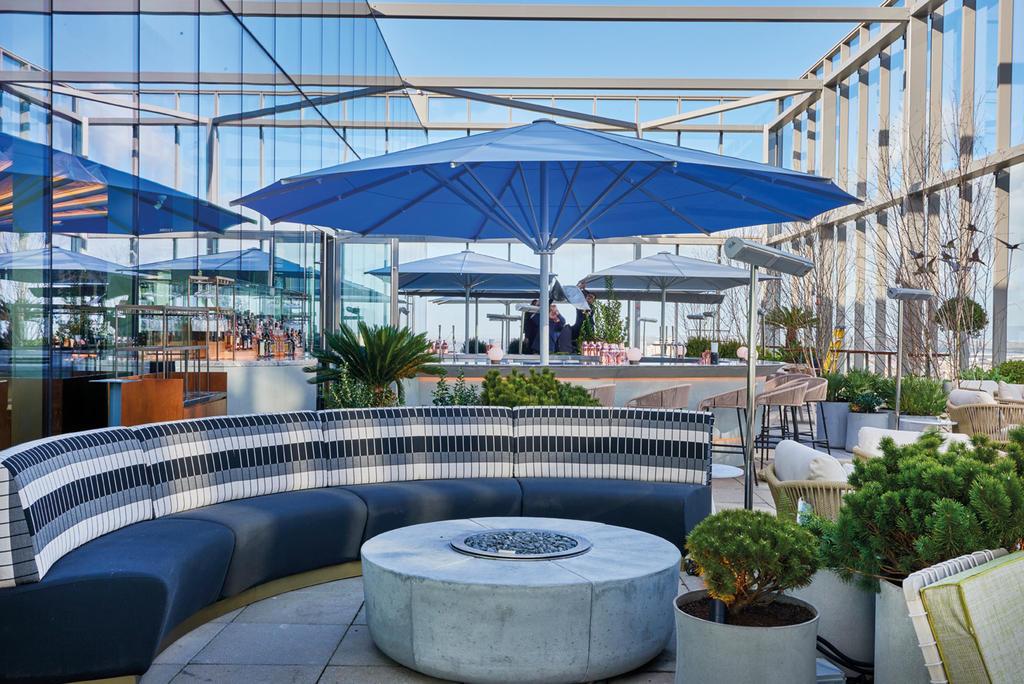Bar with blue parasols