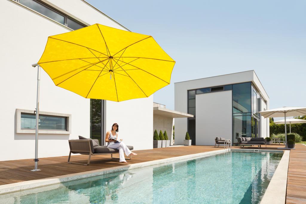 Terrace white yellow parasol