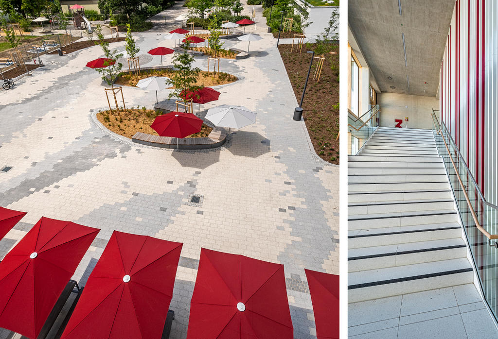 School with playing kids an red and white parasols