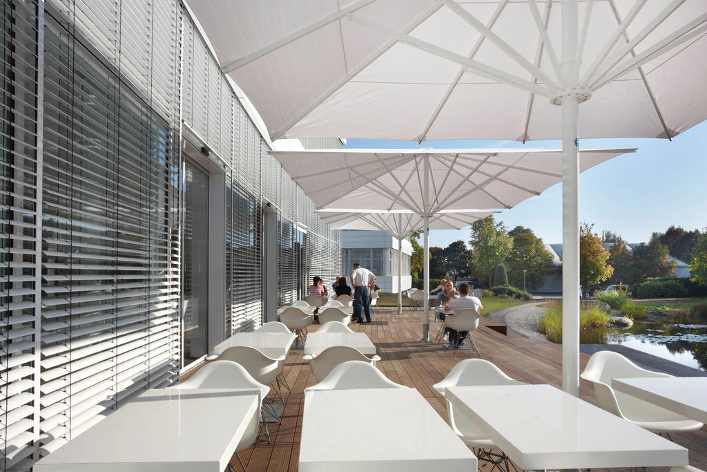 Two parasols on an terrace