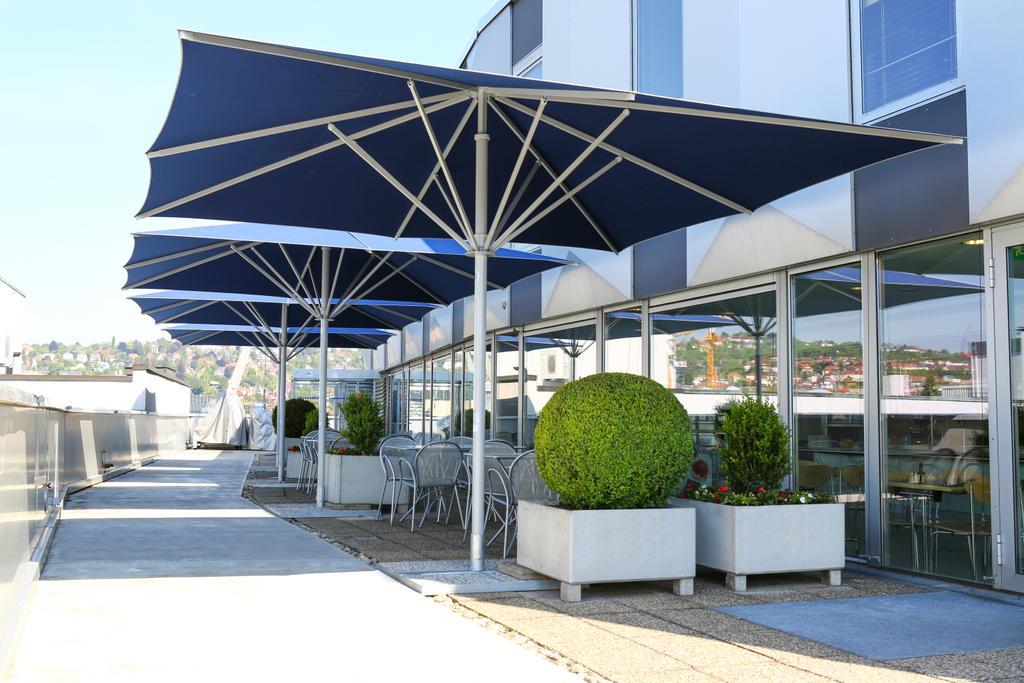 Patio with blue parasols