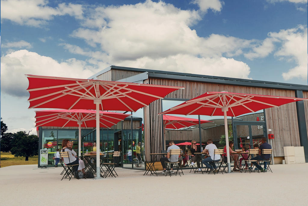 Patio with red parasols