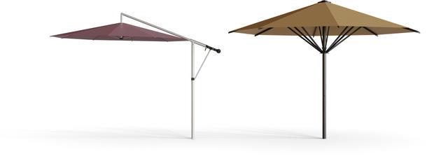 Side pole parasol MEZZO and center pole parasol SCHATTELLO