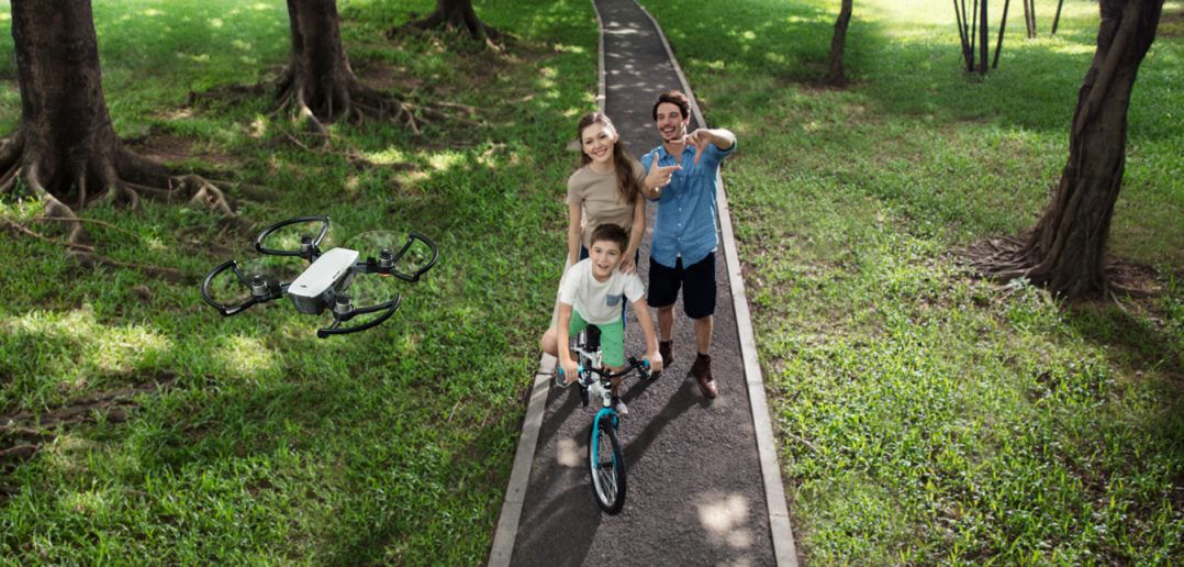 DJI Spark family walking