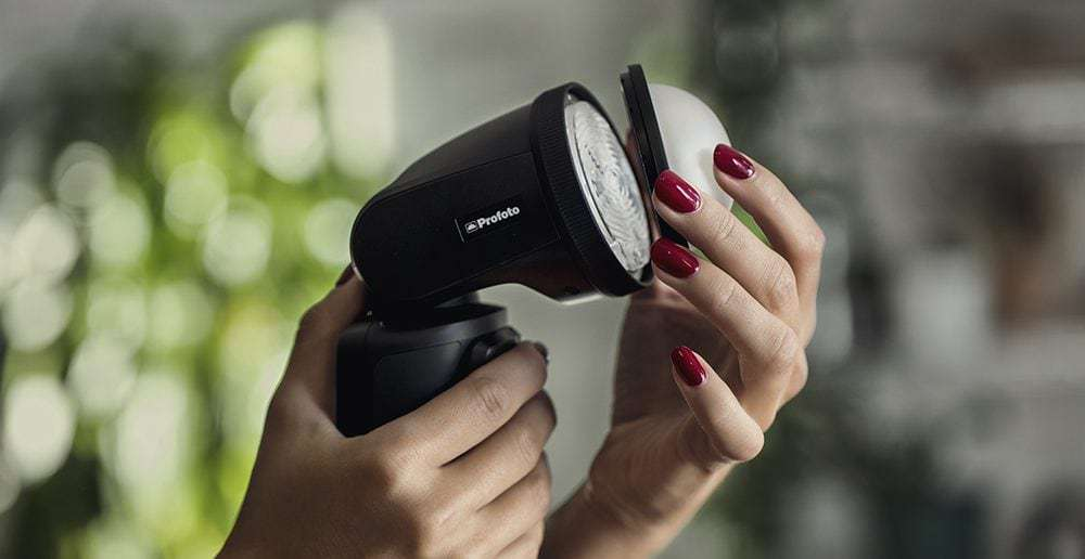 Profoto A1 with light modifier
