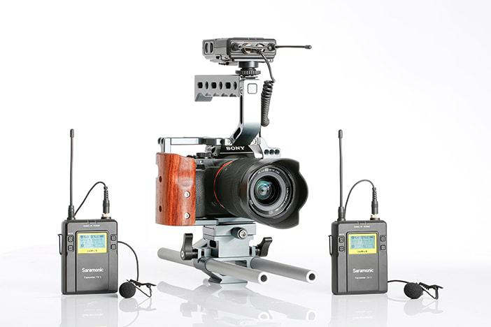 Saramonic UwMic9 Kit mounted on Sony Camera Rig