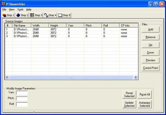 PTAssembler Source Images Control Panel