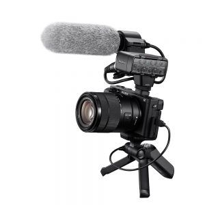 Sony a6400 with external mic attached