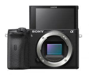 Sony a6600 mirrorless camera with screen in selfie position
