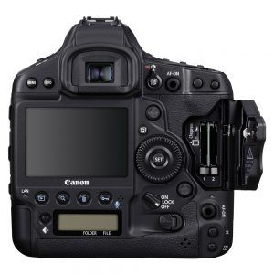 Canon 1DX Mark III Back showing Dual CFExpress Card Slots