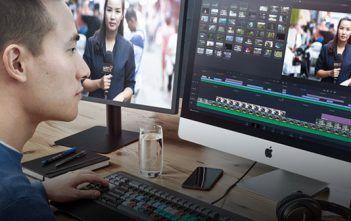 Man Editing Video using Blackmagic DaVinci Resolve 16.2.1