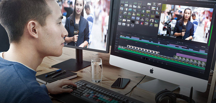 Man Editing Video using Blackmagic DaVinci Resolve 16.2.1