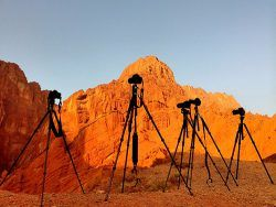 Cameras mounted on Tripods looking at Canyon