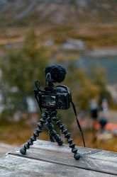 tabletop tripod with camera mounted