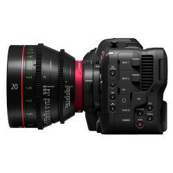 Canon EOS C70 with Cine Lens attached via adaptor