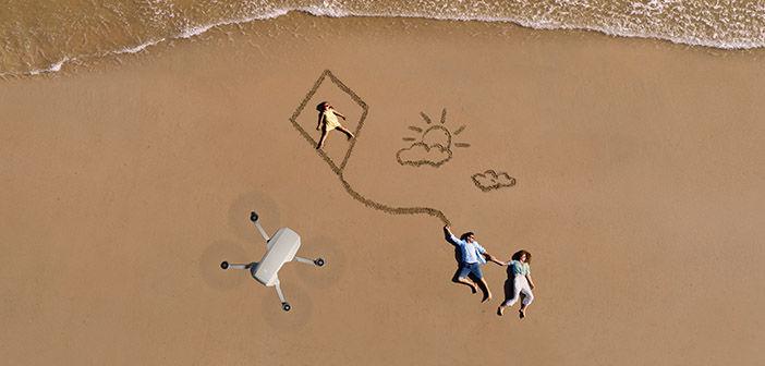 DJI Mini 2 in air above beach