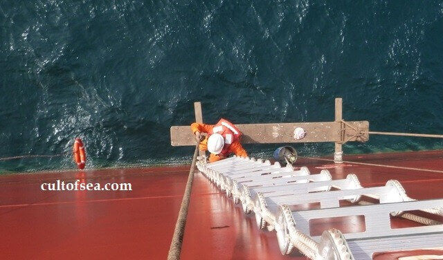 Crew Working Overside on a Ship