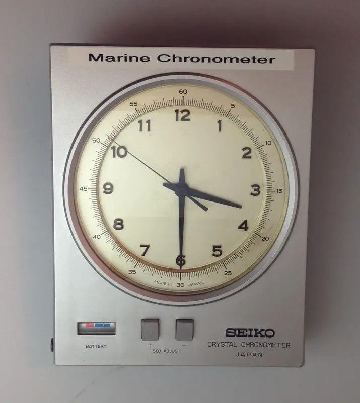 Quartz crystal marine chronometers