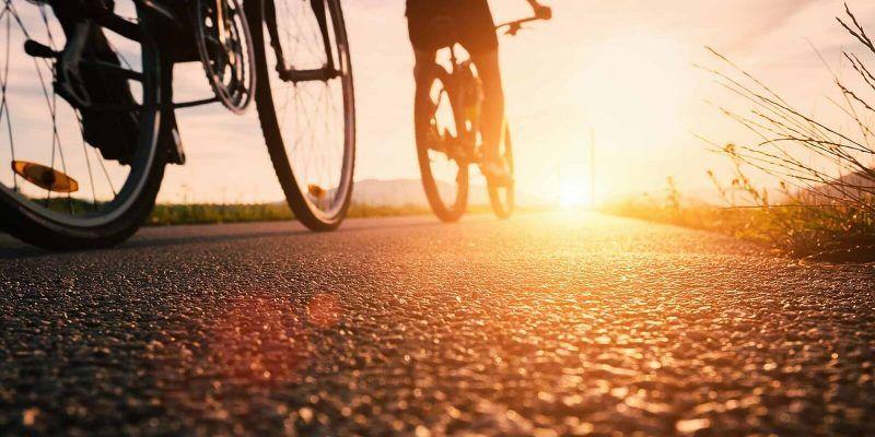 Bike wheels at sunset