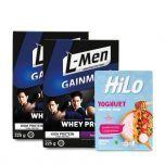 Package: Twin Pack L-Men Gain Mass Taro 225gr + HiLo Yoghurt Smoothie Bowl Strawberry (8 Sch)