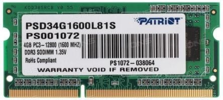 Patriot Memory for Ultrabook 4GB DDR3 SO-DIMM PC3-12800 (PSD34G1600L81S)