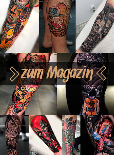 Zahlreiche Tattoomotive die als Link zum Tattoomagazin führen.