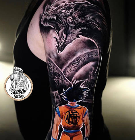 Tattoomotiv von Dragonball im modernem Tattoodesign.