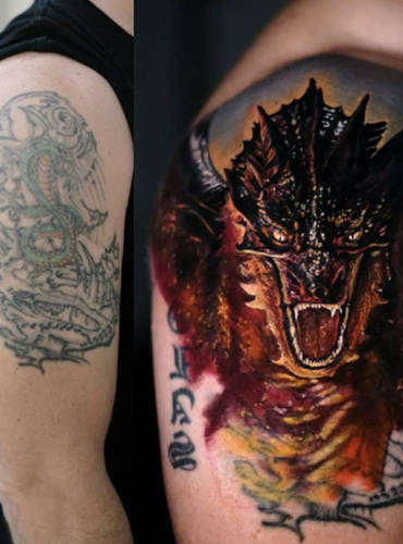 Coverup-Tattoo von einem alten Drachen zu einem neuen und modernem Tattoomotiv