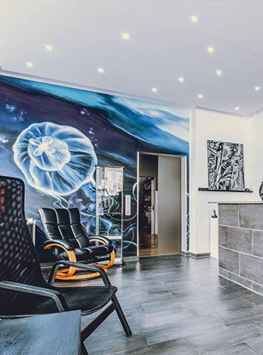 Das Seebär Studio von Innen mit Empfangsraum.