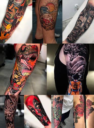 Ein Bild mit verschiedenen Tattoo Stilen tättowiert auf dem Arm in Farbe und Bunt.
