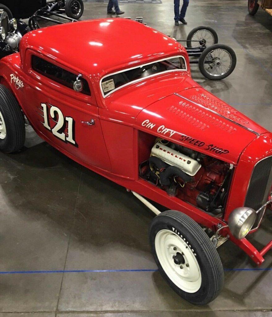 "1932 Ford 3 Window ""Drylake Style"" 312 Y Block 2×6 Manifold, 5 Speed"
