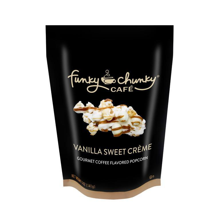 Vanilla Sweet Crème Large Bag (5oz.)-Upgrade your sweet tooth. We start with our decadent, buttery caramel popcorn and then drizzle vanilla sweet crème white chocolatey goodness, chewy caramel, and a sprinkle of white chocolate covered espresso beans.-Funky Chunky