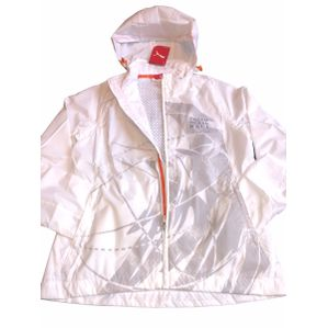 Women's Puma White Lined Hooded light rain sailing jacket size 6