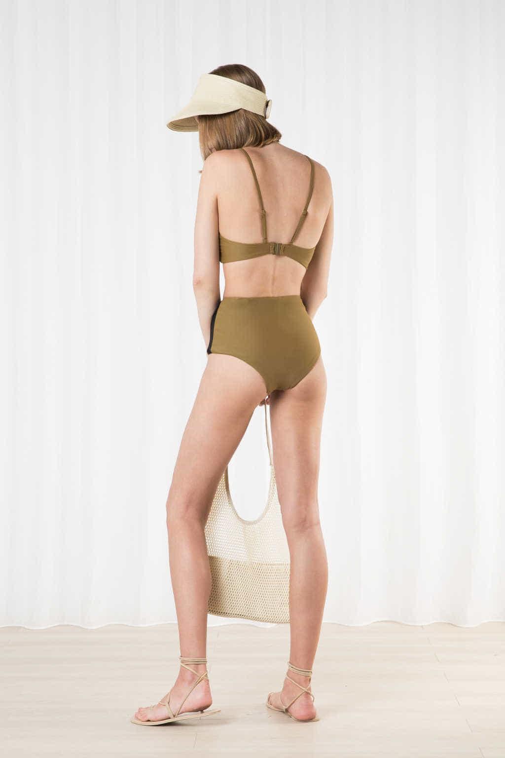 High Waist Bikini Bottom 2205 Olive 3