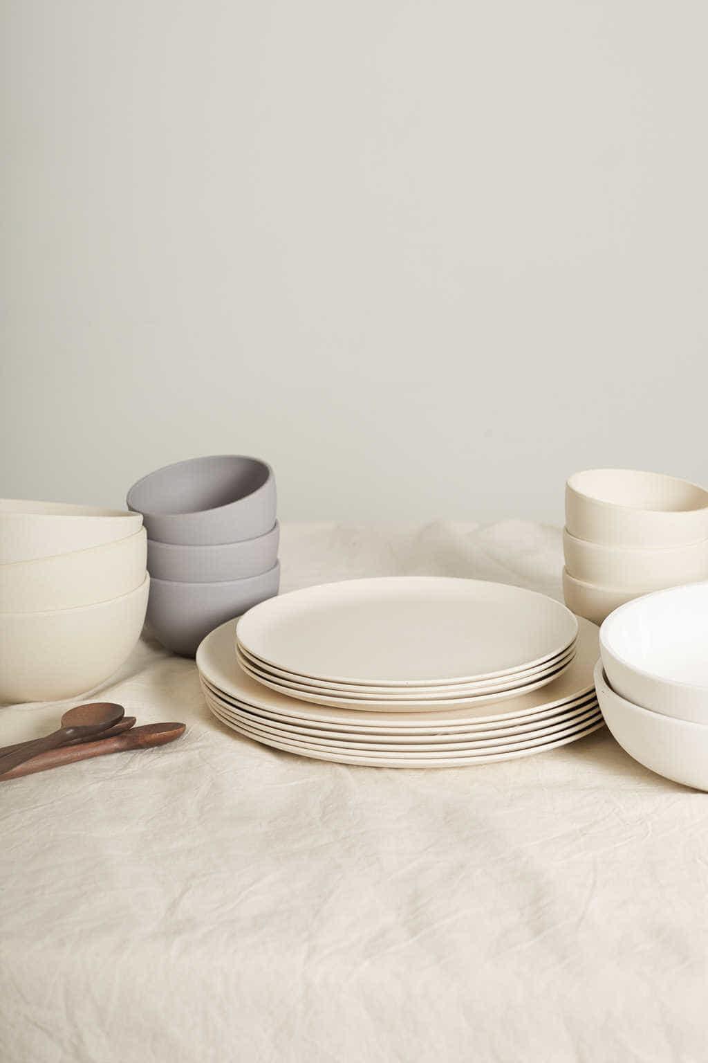 Large Bamboo Plate Set 2860 Cream 1