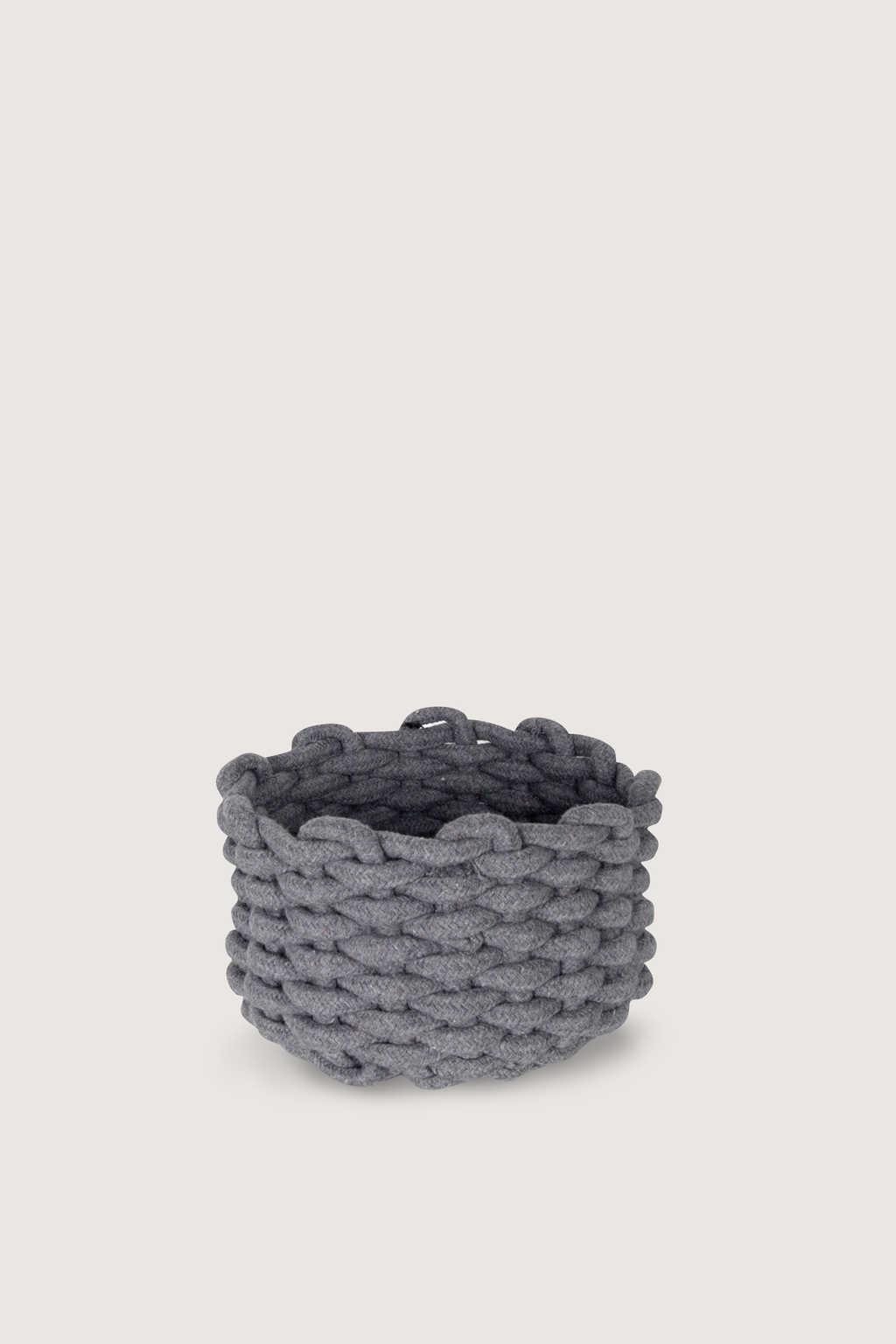 Small Woven Rope Bin 1018 Gray 1